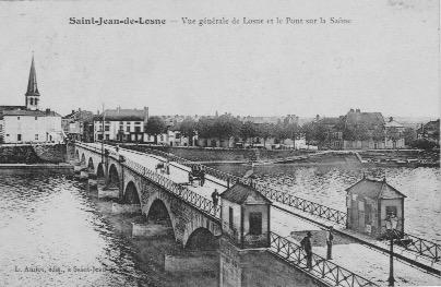 Vue generale de losne et pont sur la saone